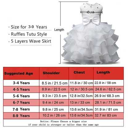Fairy Frock White Size Chart- Lilchamps