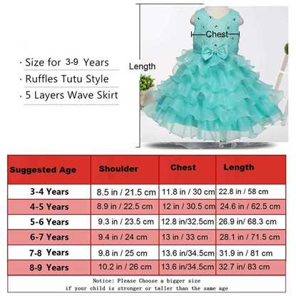 Fairy Frock Sea Green - Lil Champs Size Chart