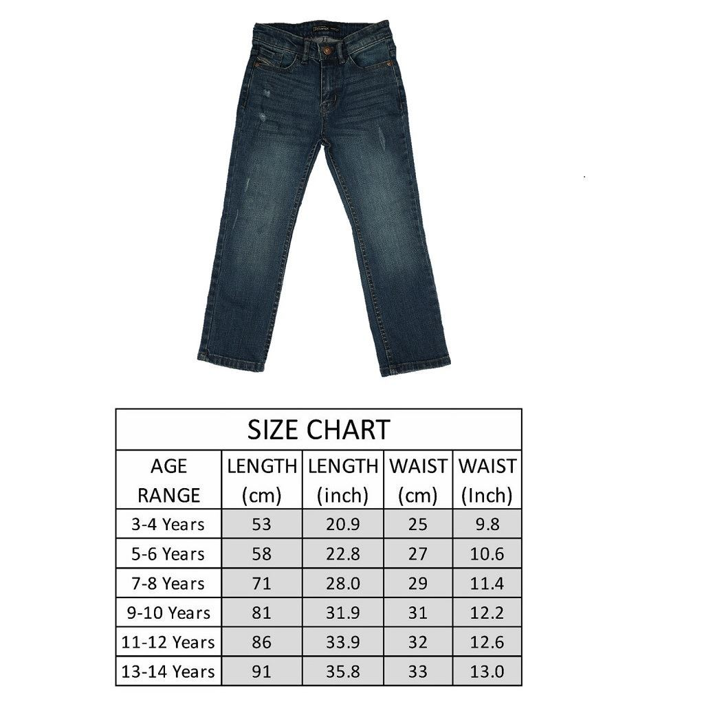 Size Chart Blue Boys Jeans in Regular Fit with ripping - Denim- lilchamps