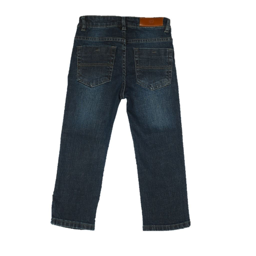 Navy Blue Boys Jeans in Regular Fit with ripping - Denim- lilchamps