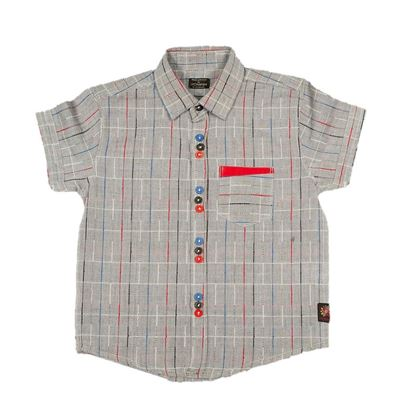 Grey color shirt with multi-color lines for boys-lilchamp