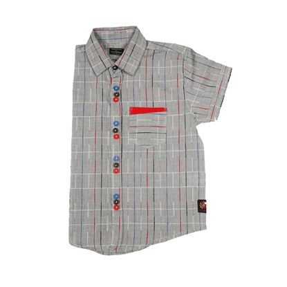 Grey color shirt with multi-color lines for boys-lil champ