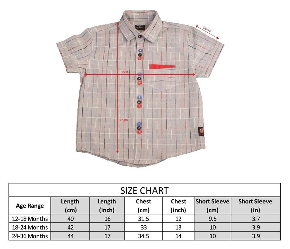 Size Chart-Grey color shirt with multi-color lines for boys-lilchamp