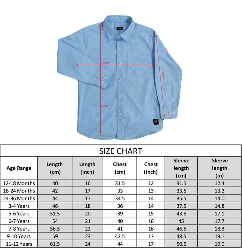 Size Chart-Blue textured shirt with multi color Dots-lilchamps