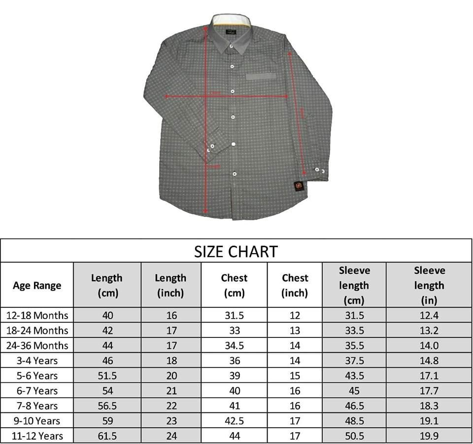 Size Chart -Grey Shirt with Dots for Boys-lilchamps