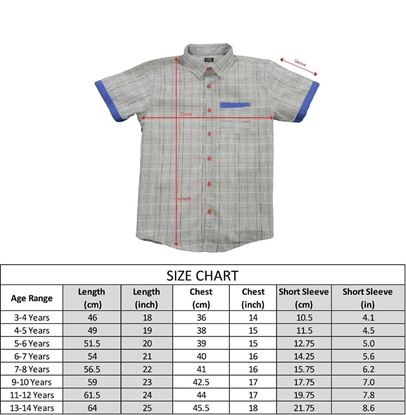 Size Chart-Grey Multi Lines Shirt for boys - lilchamps