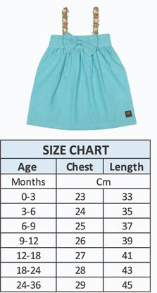 Size Chart -Sky Blue Spaghetti Strap Top for baby girls-Cotton