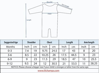 Size Chart - 3pcs Pure Blue Set for Boys- lil'champs