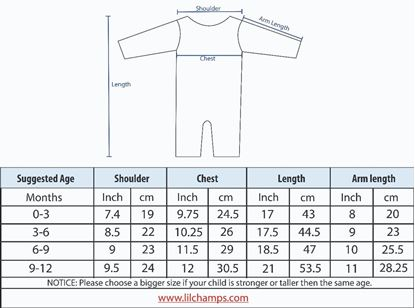 Size Chart -3 pieces Romper Set for Baby Boys-lilchamps