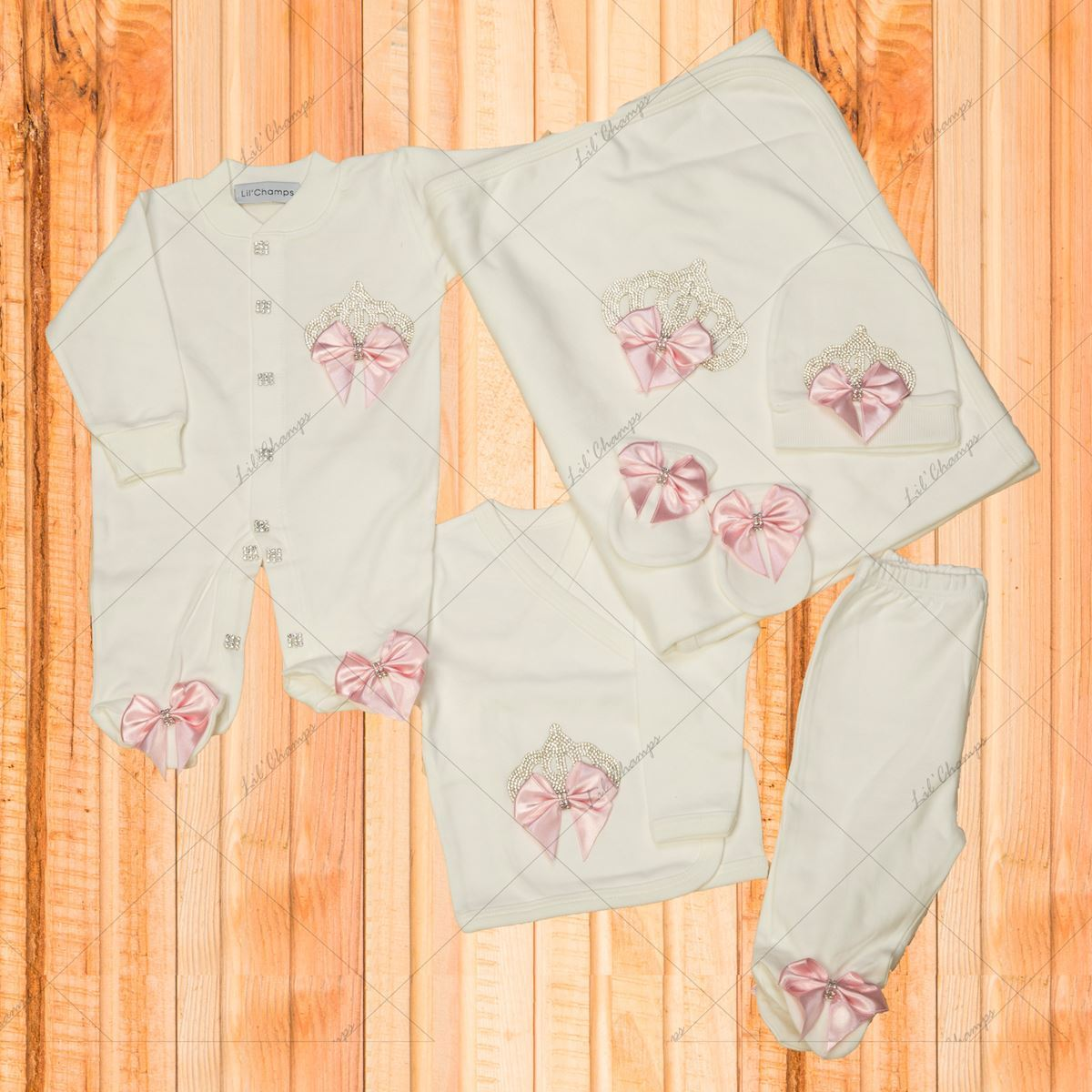 10 Pieces Pink and white Princess New Born Set -lilchamps