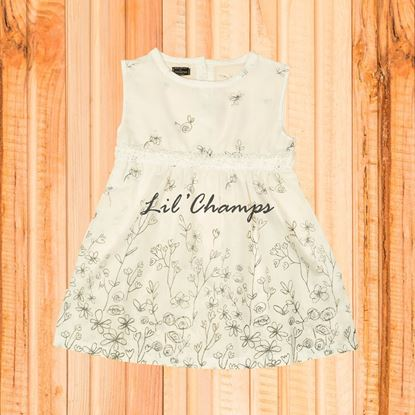 Pearl White Printed Frock - Lilchamp