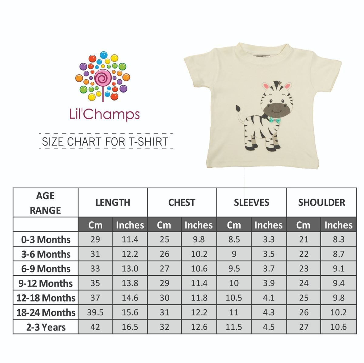 Size Chart-Zebra Style Graphic Half-Sleeve T-Shirt -Lilchamps