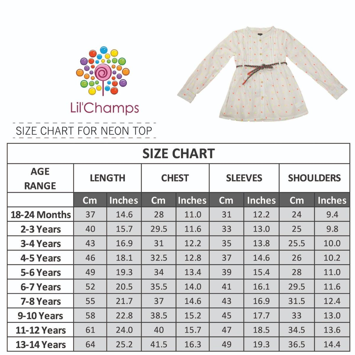 Size Chart -White Embroidered Top -lilchamps
