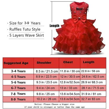 Fairy Red frock for girls by lilchamps Pakistan - Size Chart