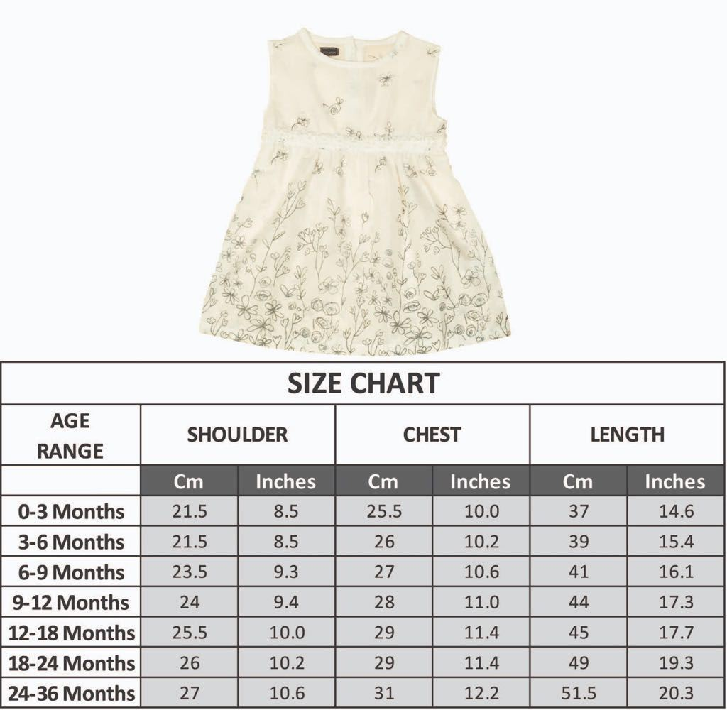 Size Chart -Pearl White Printed Frock - Lilchamp