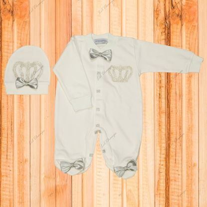 3PCS Grey and White Romper set for Baby Boys-LilChamps