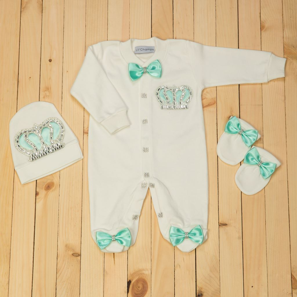 3PCS Sea Green and White Romper set for Baby Boys-LilChamps