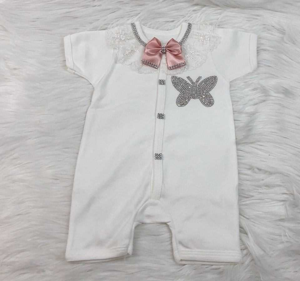 2 Pieces Tea Pink Luxury Romper Set For Baby Girls-Summer Collection-lilchamp