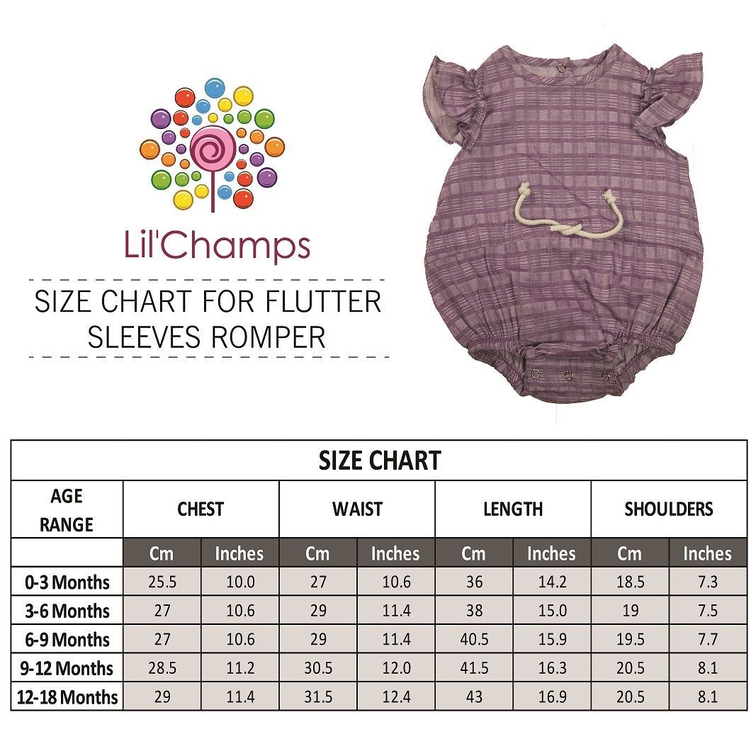 Size Chart- Purple Baby Romper With Short Sleeves-Lilchamps
