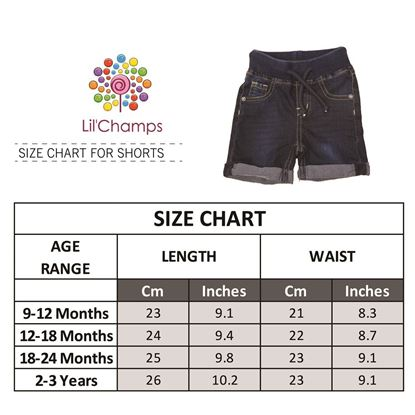 Size Chart-Denim Shorts for Boys-Back-Lilchamps