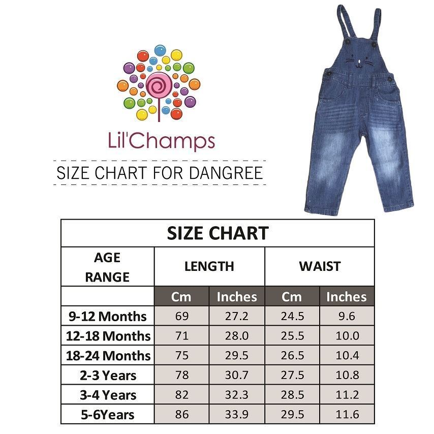 Size Chart -Girls Denim Dungaree- Lilchamps