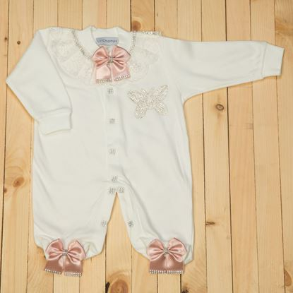 3 piece pink and white romper set for Girls- LilChamps
