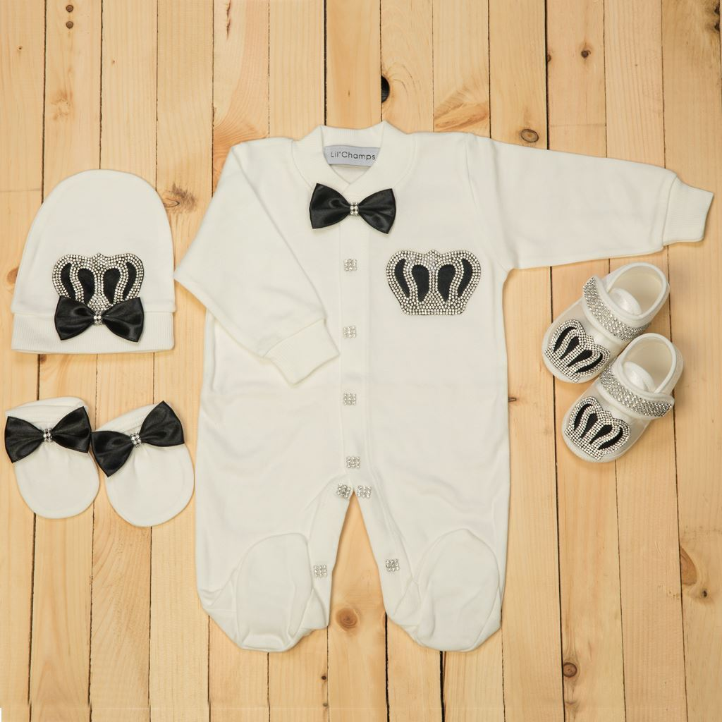 0-6 Months - 4 Pieces Black and White set for Baby Boys- Lil'Champs