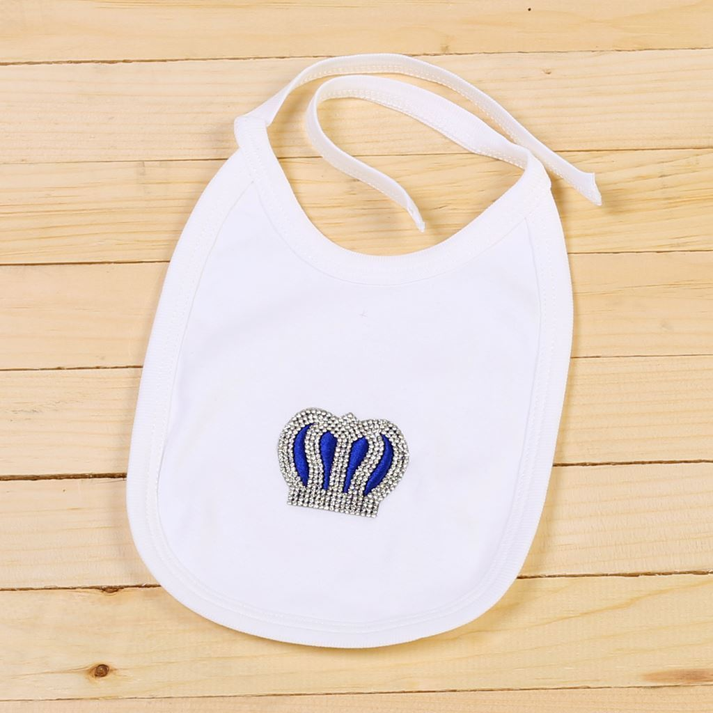 Bib - 4 Pieces Royal Blue and White set for Baby Boys-Lilchamps