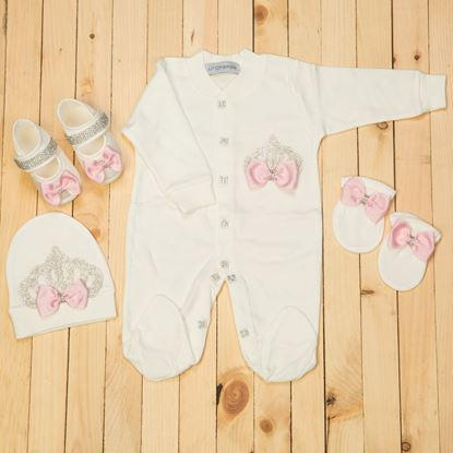 0-6 Months - 4 pieces Pink  and White Romper Set For Girls- Lilchamps