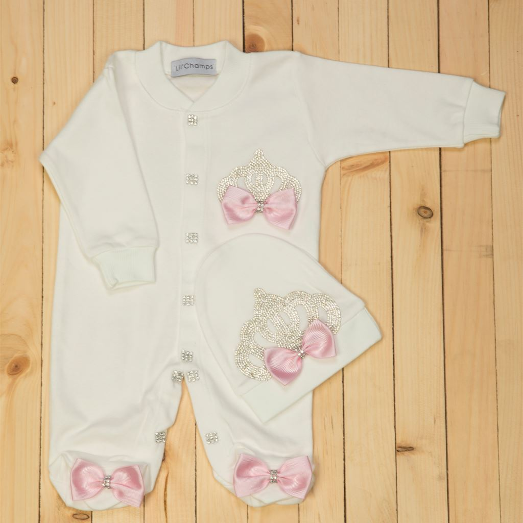 2 pieces Pink and White Romper Set for Baby Girls-lilchamps
