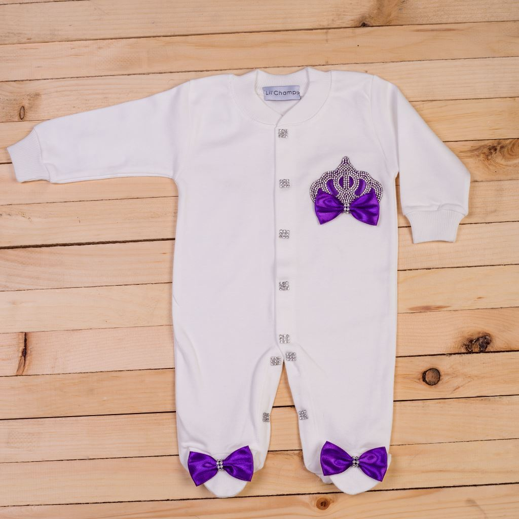 2 pieces Purple and White Romper Set for Baby Girls-lilchamps