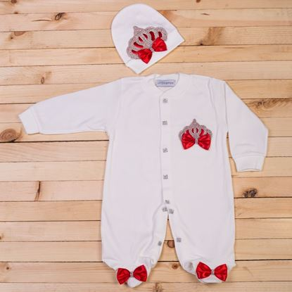 2 pieces Red and White Romper Set for Baby Girls-lilchamps