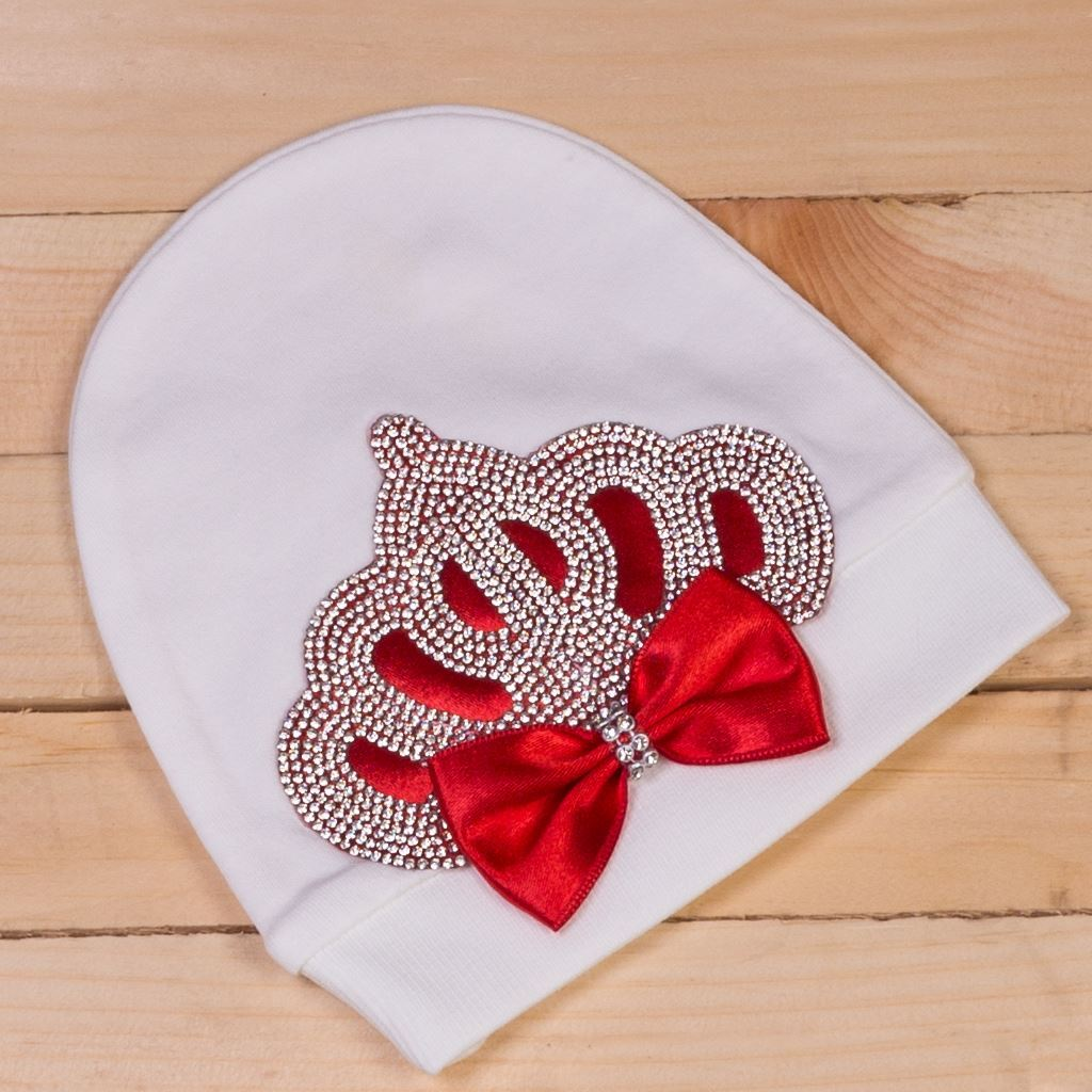 Cap-2 pieces Red and White Romper Set for Baby Girls-lilchamps