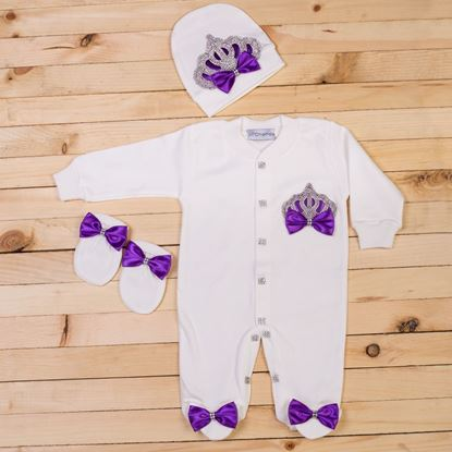 3 piece Purple and white romper set for Girls- Lil'Champs