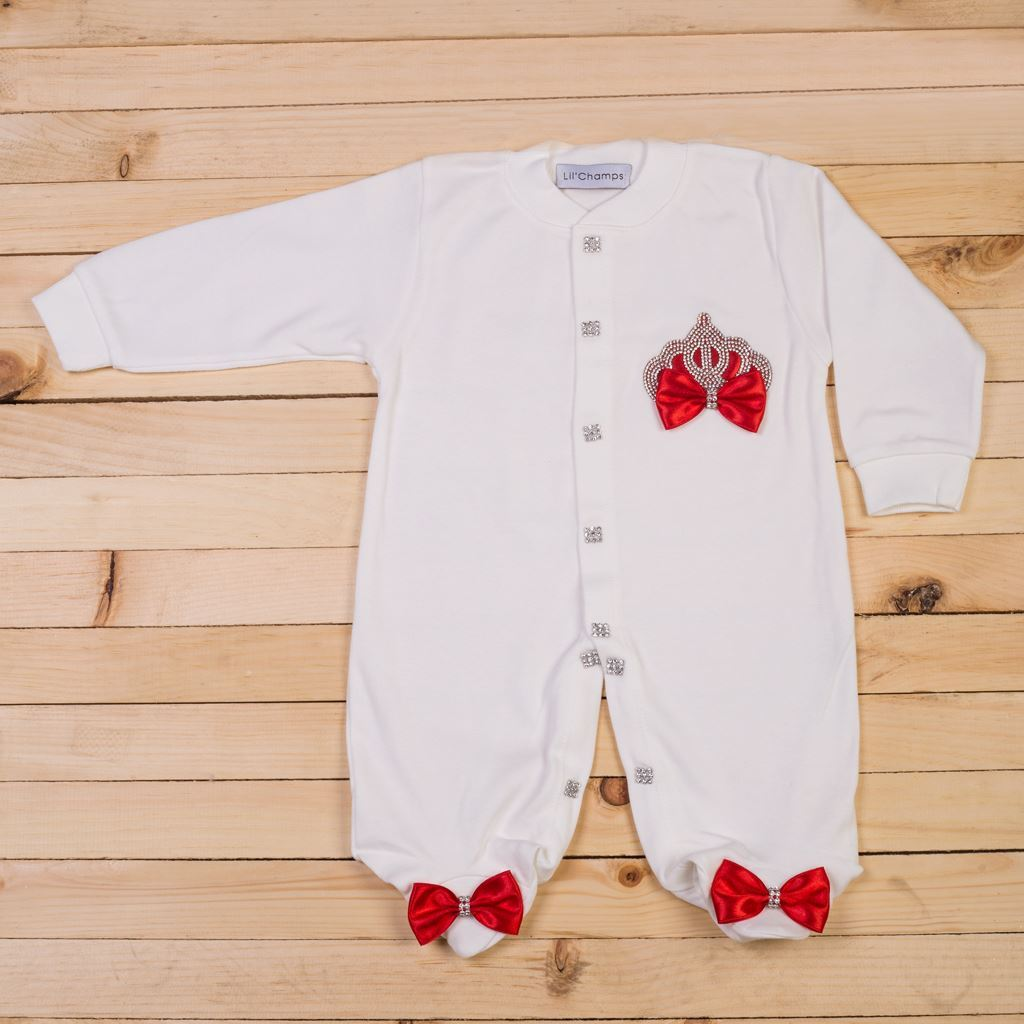 3 piece Red and White romper set for Girls- Lil'Champs