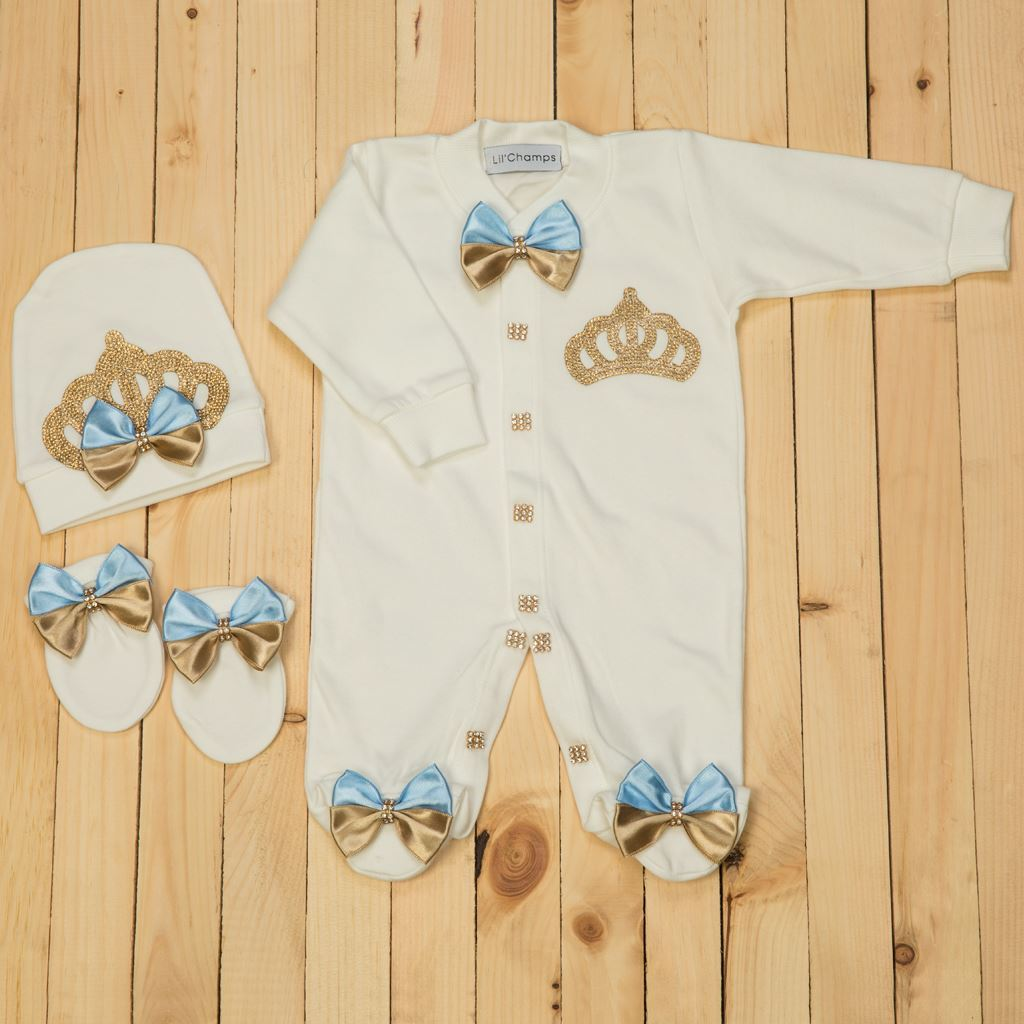 3pcs Golden and Blue Romper Set for Baby Girls-lilchamps love