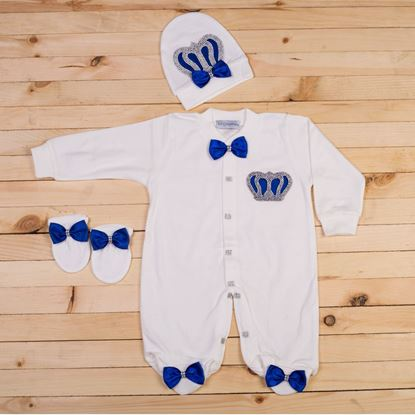 3 pieces Royal Blue and White Romper set for Baby Boys-LilChamps