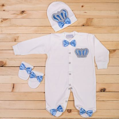 3PCS Light Blue and White Romper set for Baby Boys-LilChamps