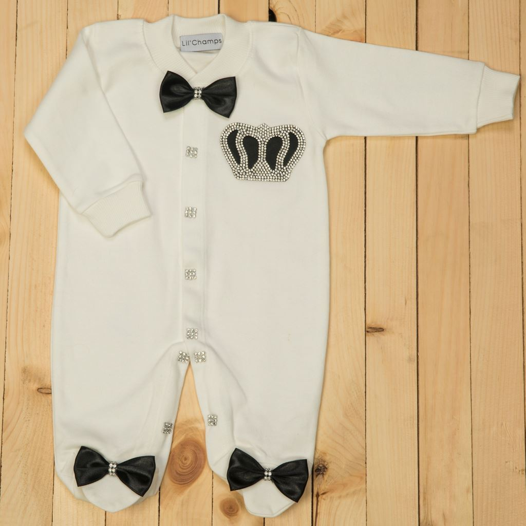 3 Pieces Black and White Romper set for Baby Boys-LilChamps