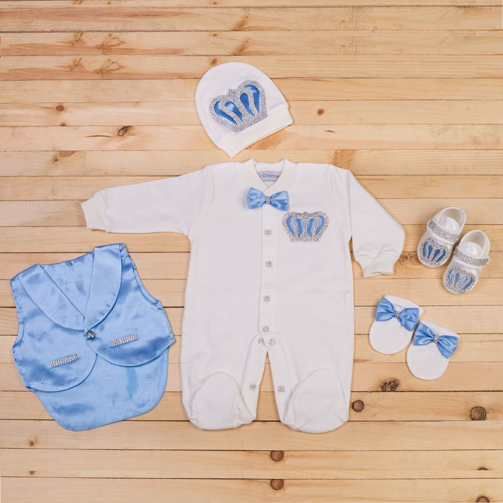 5PCS Light Blue and White Romper set for Baby Boys- Lil'Champs
