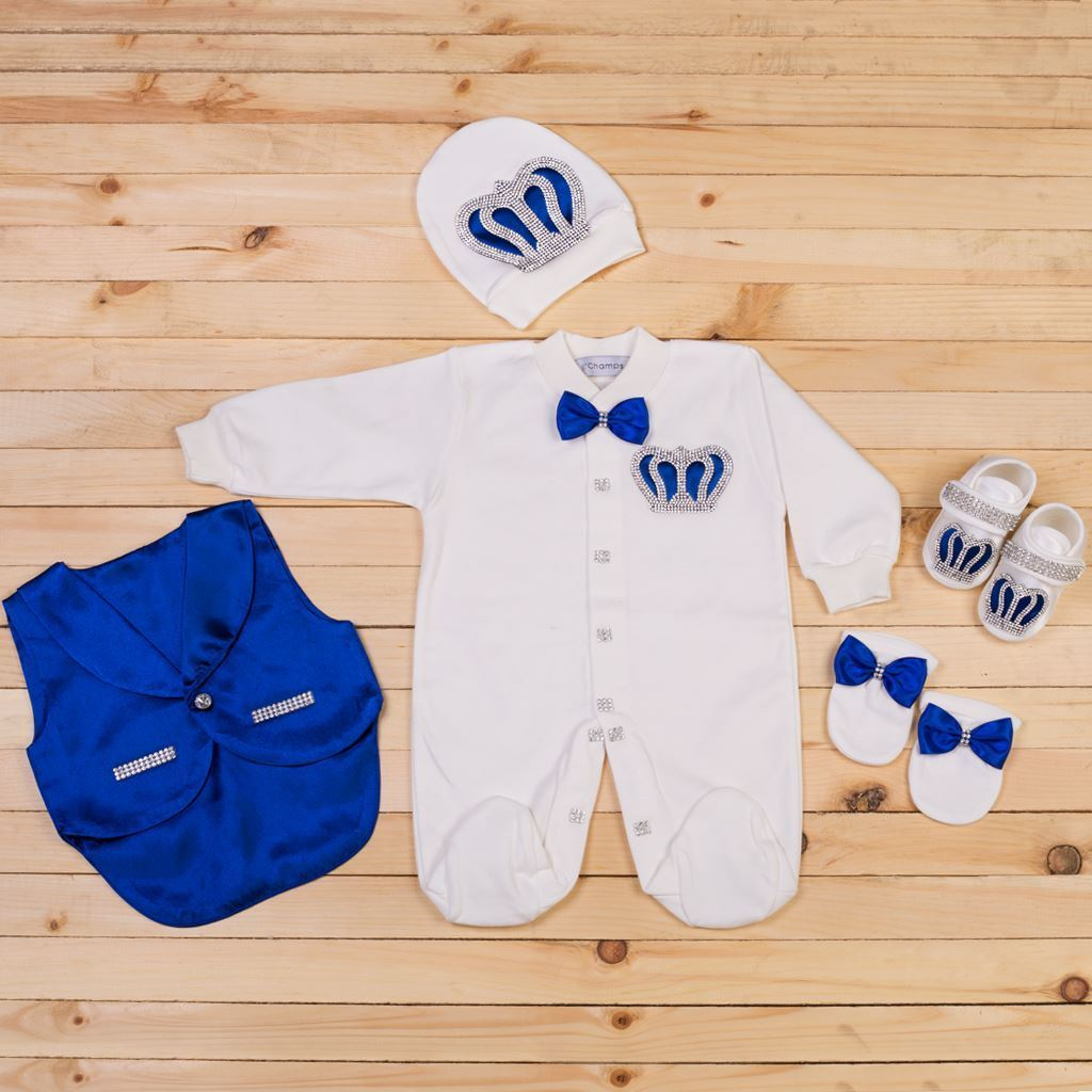 5PCS Royal Blue and White Romper set for Baby Boys-LilChamps