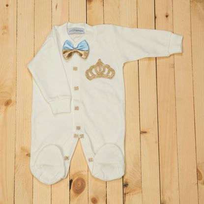 Romper - 4 Pieces Golden and Blue Romper Set for Baby Girls-lilchamps