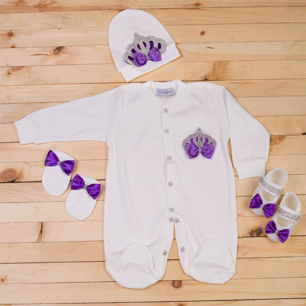 4 Pieces Purple and White romper set for Girls- Lil'champs