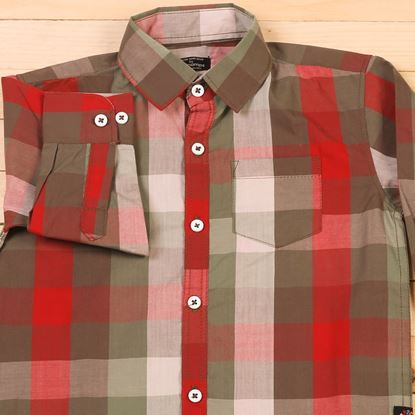 Red Green Checkered Shirt for Boys-Lil'champs