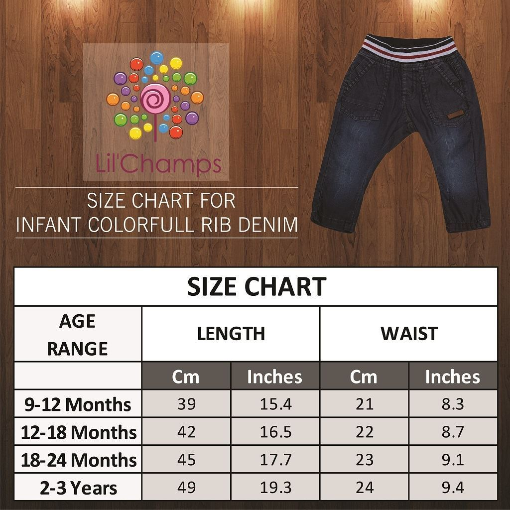 Size Chart -Denim jeans for boys - Lilchamps