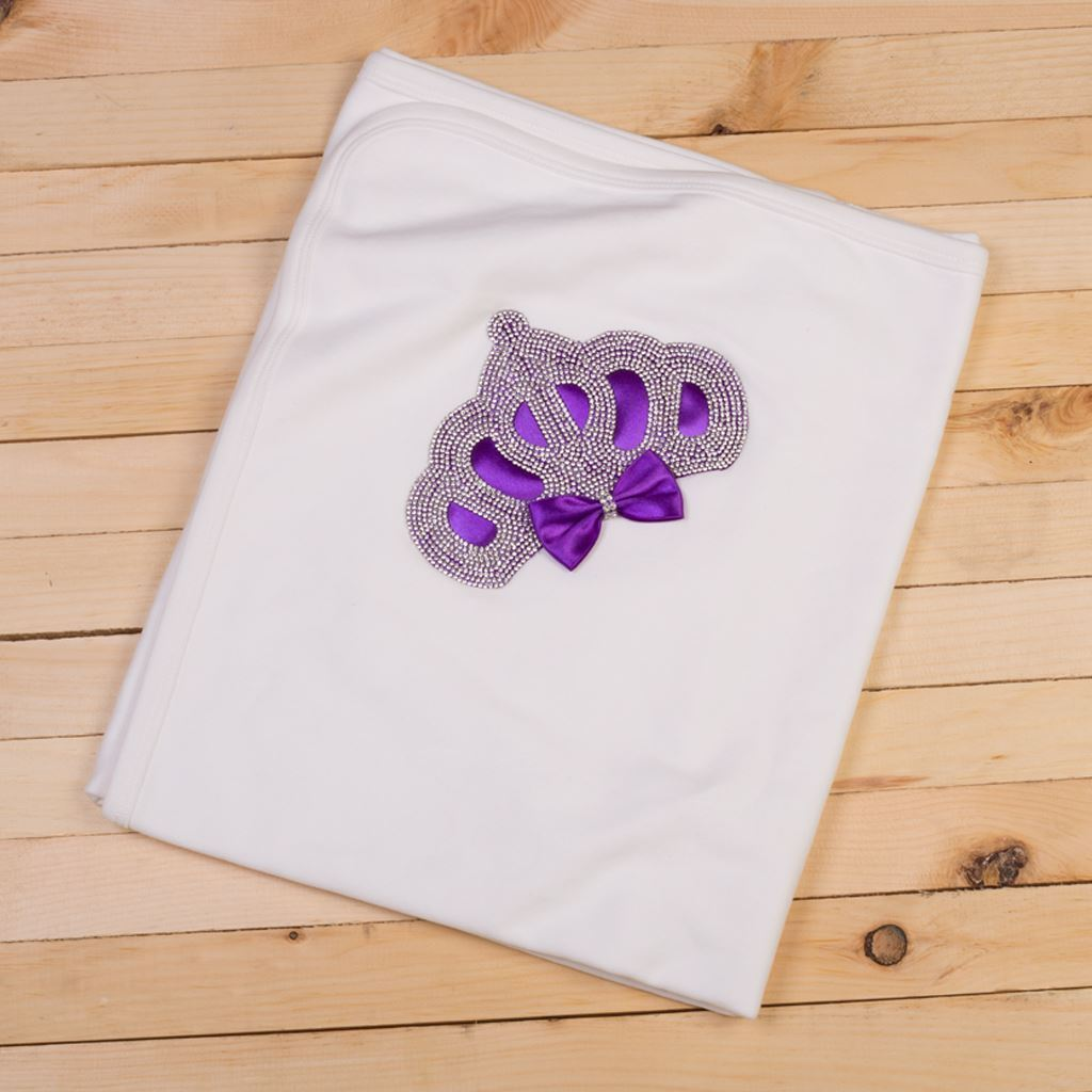 White & Purple-Wrapping Sheet/ Baby Blanket Newborn baby Girl- LilChamps