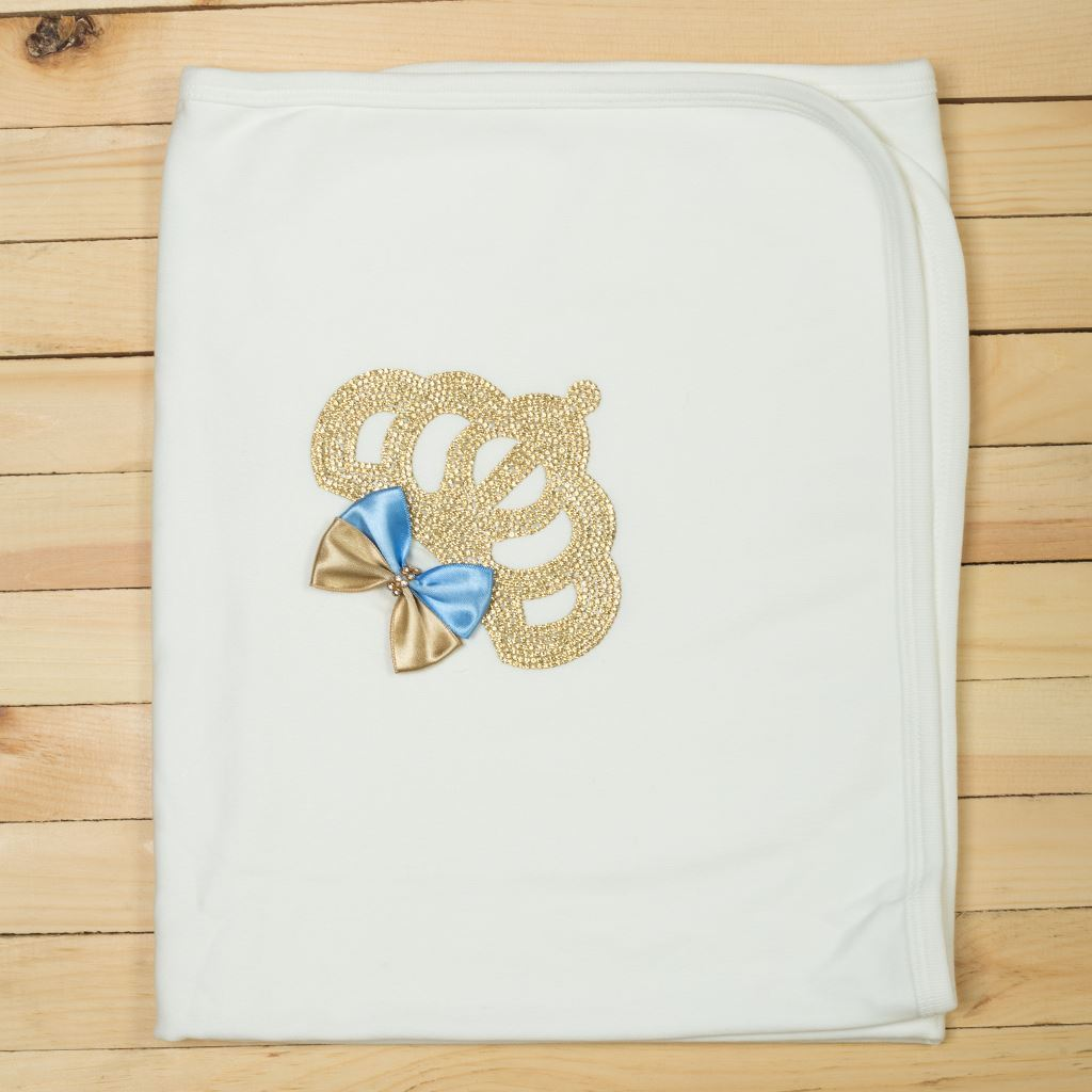 Blue & Golden-Wrapping Sheet/ Baby Blanket Newborn baby Girl- LilChamps