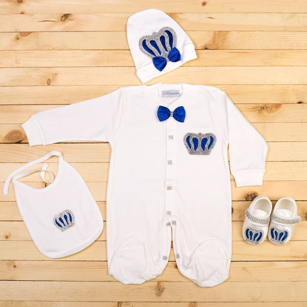 6-9 Months - 4 Pieces Royal Blue and White set for Baby Boys-Lilchamps