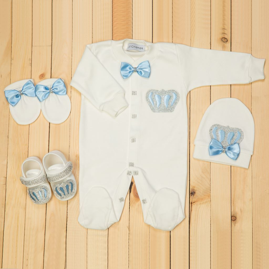 0-6 Months - 4 Pieces Royal Blue and White set for Baby Boys-Lilchamps