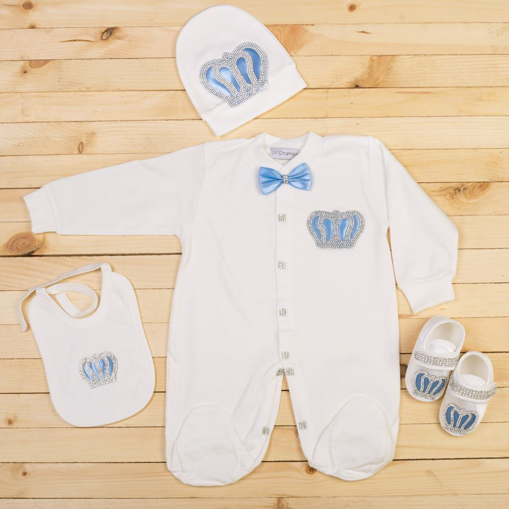 6-12 Months - 4 Pieces Royal Blue and White set for Baby Boys-Lilchamps